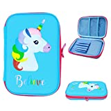 Cute Blue Unicorn Pencil Case for Kids - Pencil Pouch Stationery Box with Compartments for Pencils, Colored Pen, Crayon