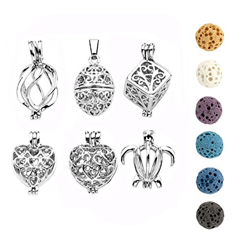 JOVIVI Aromatherapy Essential Oil Diffuser Necklace Silver Tone Locket Pendant with 6 Dyed Multi-colors Lava Stone Beads (6pcs/set)