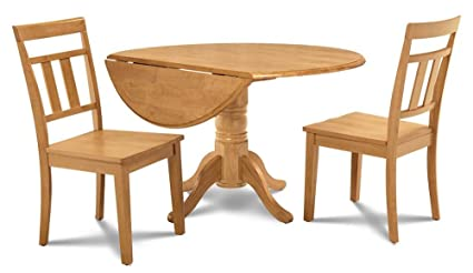 Amazon Com M D Furniture 3 Pc Small Kitchen Table Set In Oak