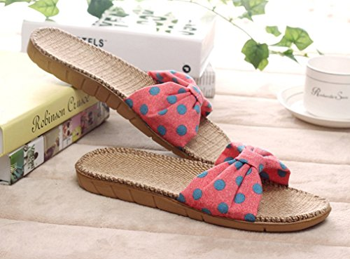 Cattior Dames Boog Vlas Zomer Slippers Huis Slippers Rood