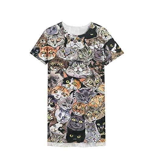 DFGJYJJUKJ Womens Nightdress Sleepwear Sleepshirts Nightgown Print Funny Cat's-Eye-Decoration-