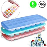 3 Pack Silicone Ice Cube Trays, Easy-Release Silicone and Flexible 21 Ice Trays Molds with Spill Resistant Removable Lid,FDA Approved BPA free Sold by Lasten