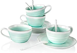 SWEEJAR Ceramic Tea Cup and Saucer Set(Blue3)