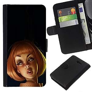 eJoy carpeta del tirón la caja de cuero de alta calidad de la PU Caso protector/Sony Xperia M2/-pelirroja dibujo niños 3d mujer de la historieta