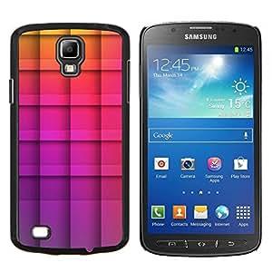 Motif Polygone Violet damiers - Metal de aluminio y de plástico duro Caja del teléfono - Negro - Samsung i9295 Galaxy S4 Active / i537 (NOT S4)