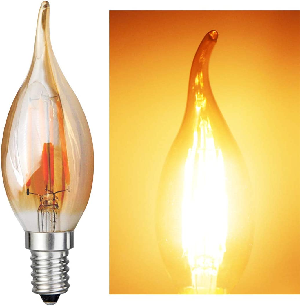 Dimmable 4W AC 120V LED Filament Light Amber Candle Bulbs C35L E14 Base Lamp iRotYi 40W Incandescent Bulbs Replacement Warm White 2800 Kelvin 400LM 10-Pack