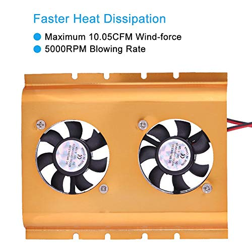 Sugoyi 5000RPM Hard Disk Cooling, Hard Drive Cooler, 10.05CFM Wind-Force Fast Heat Dissipation for HDD(Golden)