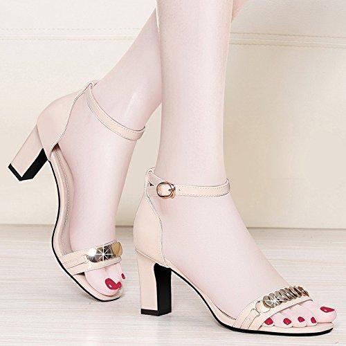 Beige Tacones Altos con New Palabra Jqdyl Ladies con con Women's una Summer Tacones Shoes Gruesa Swf7q6