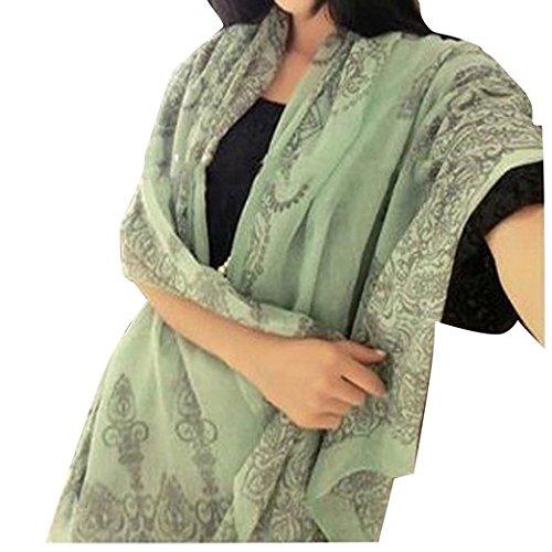 Dealzip Inc Vintage Women's Ladies Girls Mint Green Chinese Porcelain Pattern Printed Chiffon Long Wrap Scarf Shawl Muffler Cappa