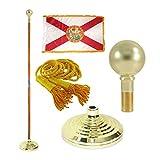 Florida 3ft x 5ft Flag, Flagpole, Base, and Tassel (Parade Ball, 7 Ft Oak Pole)