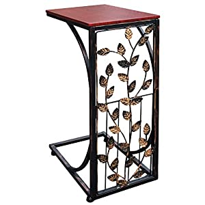 Sofa Side and End Table, Small – Metal, Dark Brown Wood Top With Leaf Design – Perfect for Your Living Room, Slides Up To Sofa / Chair / Recliner – Keep Snacks, Drinks Books & Phone At Easy Reach