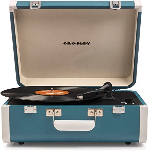 Crosley Portfolio Vintage 3-Speed Bluetooth Suitcase Turntable with Built-in Speakers, Quetzal