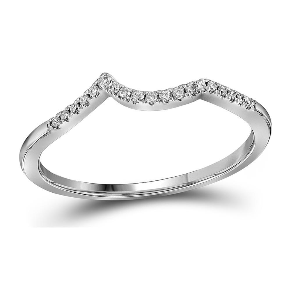 14k White Gold Round Diamond Contoured Enhancer Wedding Band Anniversary Ring 1/12 Ct.