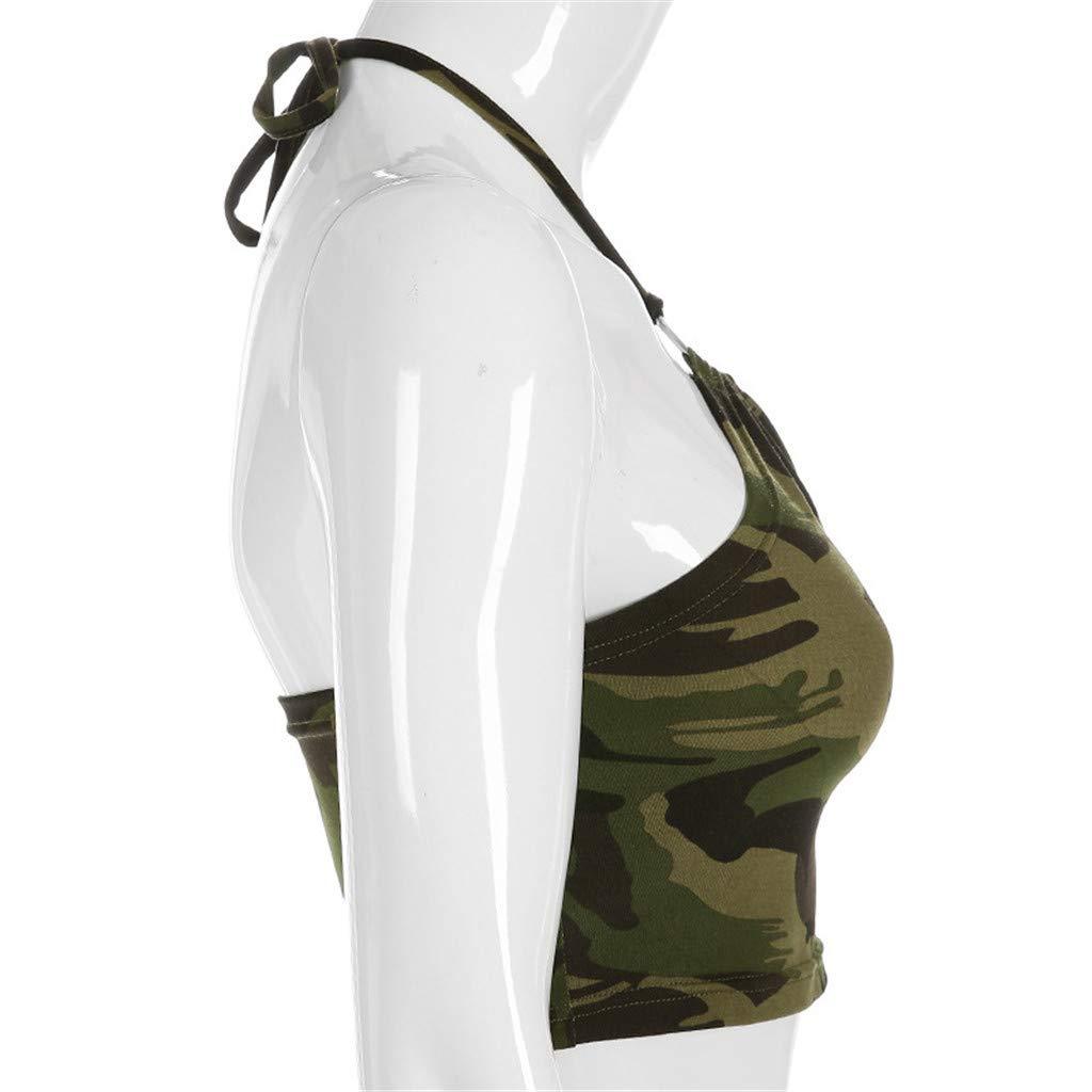 YWLINK Damen Neckholder Top Dessous Sommer Weste Camouflage Woodland Tank R/üCkenfreier Wickel BH