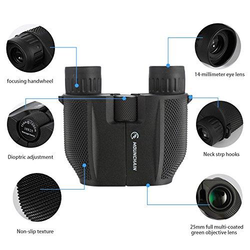 약한 야간 투시경을 갖춘 10x25 콤팩트 쌍안경, 고성능 방수 휴대용..