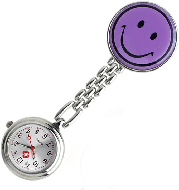 Reloj de bolsillo para trabajadores sanitarios con cara sonriente. Enganche de pinza (Simple cara sonriente, púrpura): Amazon.es: Relojes