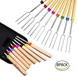 Roasting Sticks, Ezire Marshmallow Roasting Sticks 32 Inch Extendable Forks for BBQ at the Campfire, Set of 8