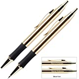 Engraved / Personalized Monaco 24 Karat Gold Plated Gift Pen and Pencil Set