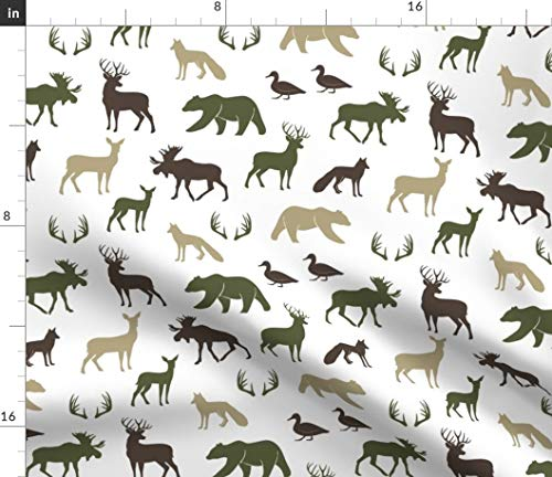 Spoonflower Forester Silhouettes Fabric - Wood Wild Life Antlers Baby Boy Hunting Moose Deer Cabin Mountain Adventure by Littlearrowdesign Printed on Fleece Fabric by The Yard ()