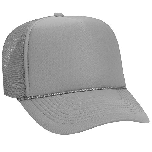 Panel Mesh 5 Back - OTTO Polyester Foam Front 5 Panel Pro Style Mesh Back Trucker Hat - Gray