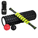 Youly Massage Mobility Kit Including 18 inch Large Size Foam Roller Muscle Roller Stick and Massage Balls for Pain Relief, Physical Therapy, Deep Tissue Trigger, Balance-improving