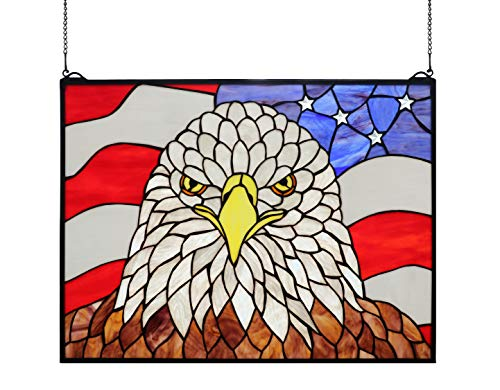 Yogoart Stained Glass Window Panel Bald Eagle/American Flag Tiffany Glass Window Hanging 18