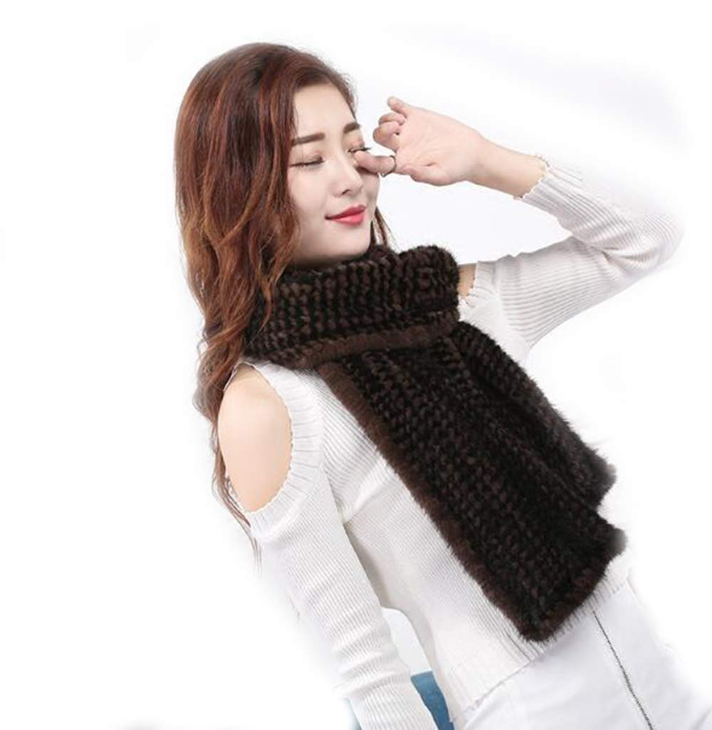 Women Real Mink Fur Tightly Knitted Fishtail Scarf Neckerchief Long 180×20cm (Women - Black+Brown)