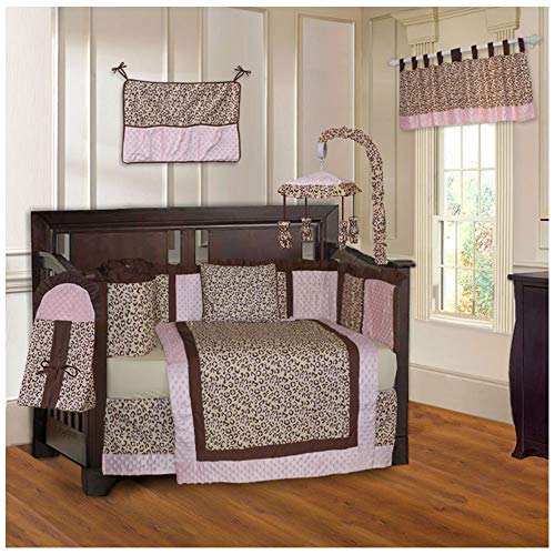(BabyFad Leopard Pink 10 Piece Baby Crib Bedding Set)