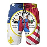 KfjTA Adult Flag Of Detroit Summer Beach Board Shorts Casual Gym Home Pants