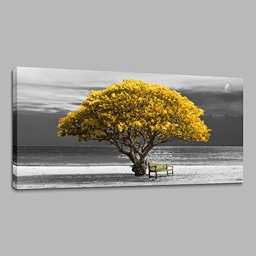 (Wall Art for Living Room Decorations Photo Prints - Panoramic Black and White with Yellow Trees The Moon Scenery - Modern Home Decor The Room Stretched and Framed Ready to Hang Artwork 24X48inches)