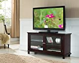 47 inch tv console - Kings Brand Furniture TV Stand with Glass Doors, Dark Cherry, 47