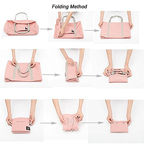 Okdeals Travel Lightweight Foldable Waterproof Carry Storage Luggage Duffle Tote Bag (Pink) by Okdeals (Image #7)