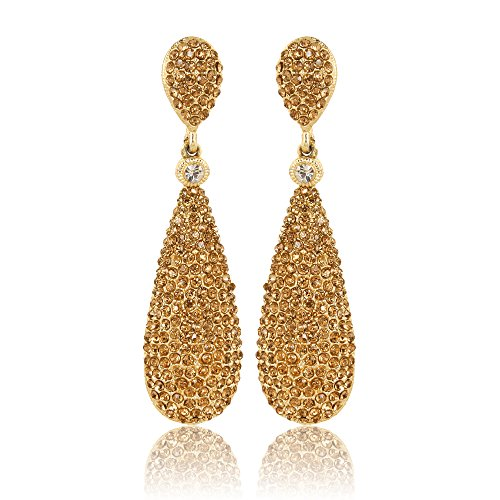Moonstruck Costume Jewelry Chandelier Champagne Diamond Studded Golden Drop and Dangle Earrings for Women