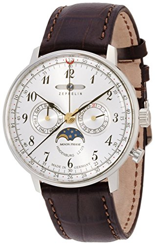 ZEPPELIN watch Hindenburg Silver Dial moon phase display Day-Date 70361 Men's [regular imported goods]