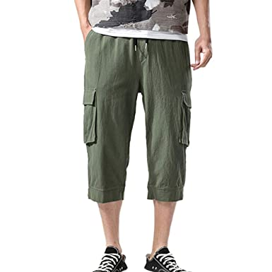 9e993b55a6 ABASSKY Men's Fashion Summer Casual Pocket Solid Drawstring Cotton 3/4 Pants  Trousers Army Green