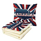 iPrint Quilt Dual-Use Pillow USA Map America Typography with National Country Colors Retro Pop Art Effects Decorative Multifunctional Air-Conditioning Quilt Dark Blue Red White