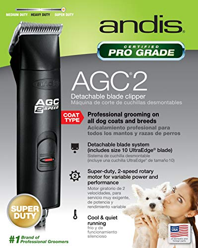 Andis ProClip 2-Speed Detachable Blade Clipper, Professional Animal Grooming, AGC2, Black (22340)