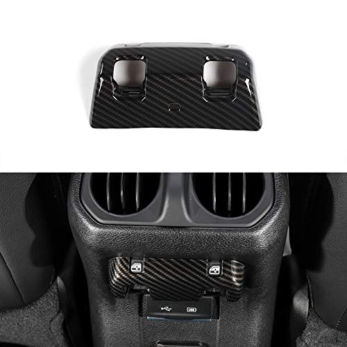 BORUIEN Carbon Fiber Grain ABS Rear Window Adjust Panel Sticker Frame Cover Decor Trim for Jeep Wrangler JL (Rear Window Cover Carbon)