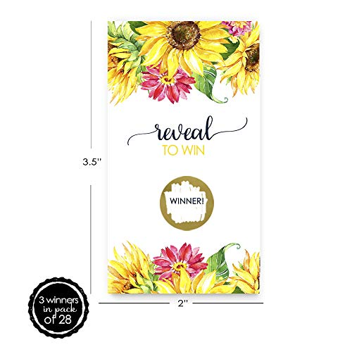 Bright Floral Scratch Off Game Cards (28 Pack) by Paper Clever Party (Image #1)