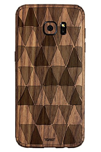 TOAST Real Wood Skin for Samsung Galaxy S7 Edge - Retail Packaging - Walnut with Triangles Etching