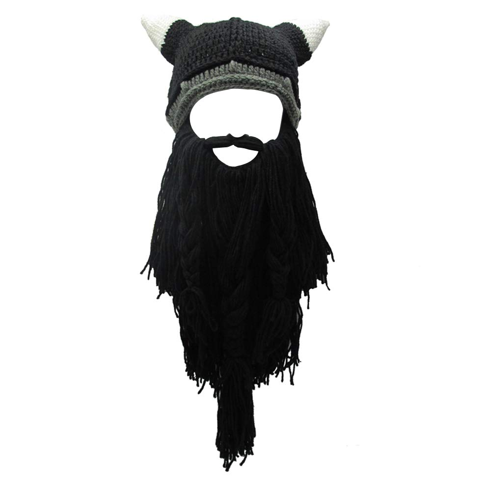 f59e34bfc85 Knit Beard Hat Long Bearded Horns Hat Detachable Bearded Face Mask Cap  Outdoor Activities Skiing Skull Beanies at Amazon Men s Clothing store