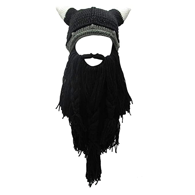 56cdb417b88 Knit Beard Hat Long Bearded Horns Hat Detachable Bearded Face Mask ...