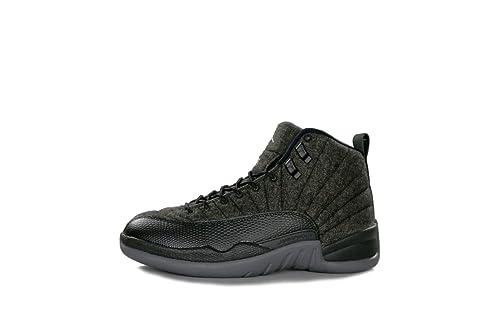 344706126954a1 Nike Boys Jordan 12 Retro Wool BG Dark Grey Silver-Black Wool Size 5. 5Y   Buy Online at Low Prices in India - Amazon.in