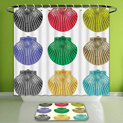 Waterproof Shower Curtain and Bath Rug Set Seashells Decor Colorful Seashells Cute Species of The Ocean Pop Art Style Patt Bath Curtain and Doormat Suit for Bathroom Extra Long Size 72