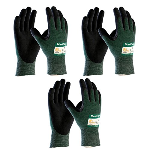 3 Pack MaxiFlex Cut 34-8743 Cut Resistant Nitrile Coated Work Gloves with Green Knit Shell and Premium Nitrile Coated Micro-Foam Grip on Palm & Fingers. Sizes S-XL (Large)
