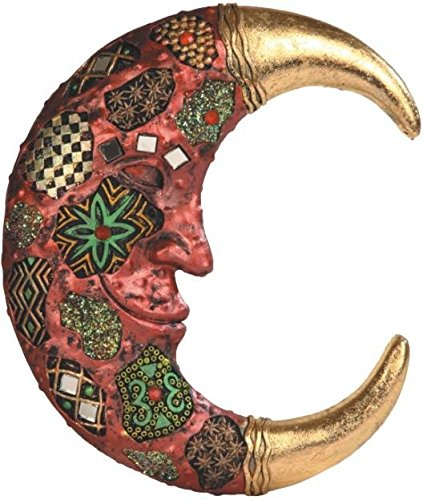 StealStreet SS-G-63068 Red Cracked Mosaic Crescent Moon Wall Plaque Decoration Statue