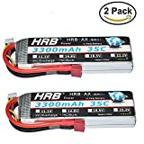HRB 2pack 3s 3300mah 11.1V 35C-70C RC Lipo Battery For Helicopter Airplane Traxxas Car RC Airplane RC Helicopter RC Car RC Truck RC Boat Quadcopter With T plug