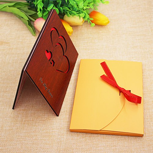 Handmade Wood Love Valentines Day Card with Unique Gift Card Box The Best Valentine's Day Card Greeting Cards
