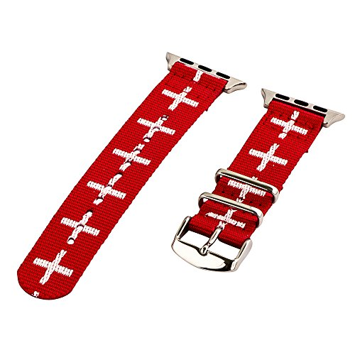 Clockwork Synergy - 2 Piece Classic NATO Band Compatible for 38mm Apple Watch Series (Cross Red/White) ()