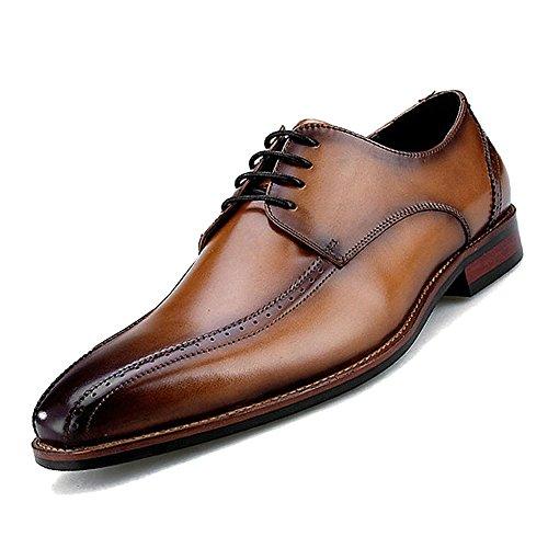 MERRYHE Vintage à Lacets à La Main Vintage Brogues Classique En Cuir Véritable Derby Plain-toe Formelles Chaussures Habillées Pour Les Cadeaux Du Père Des Hommes Brown R99qlke